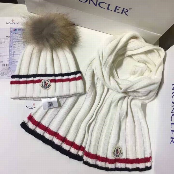 moncler上品上質編み物帽子Moncler  帽子マフラー二点セット