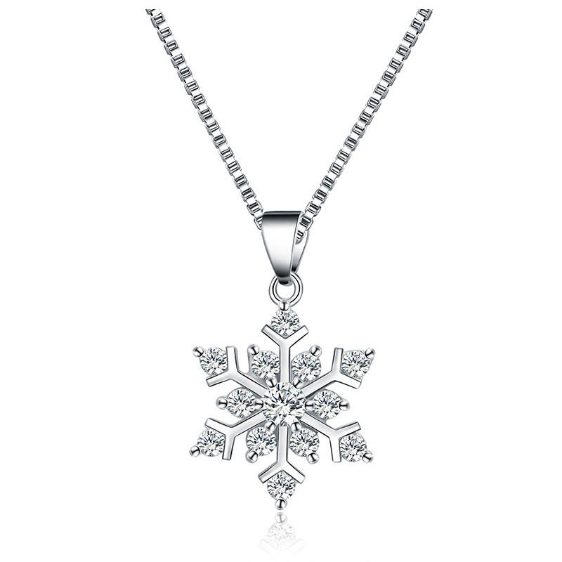レディース シルバー925 ネックレス ジルコニア バレンタインデー雪 雪の結晶 誕生日 プレゼント