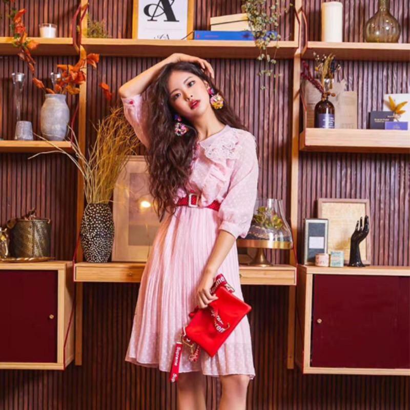 2018夏 甘い・縁の飾りカラー・ピンク ワンピース
