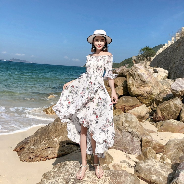不規則ロングワンピース 花柄 オフショルダー 韓国ファッション マキシワンピース