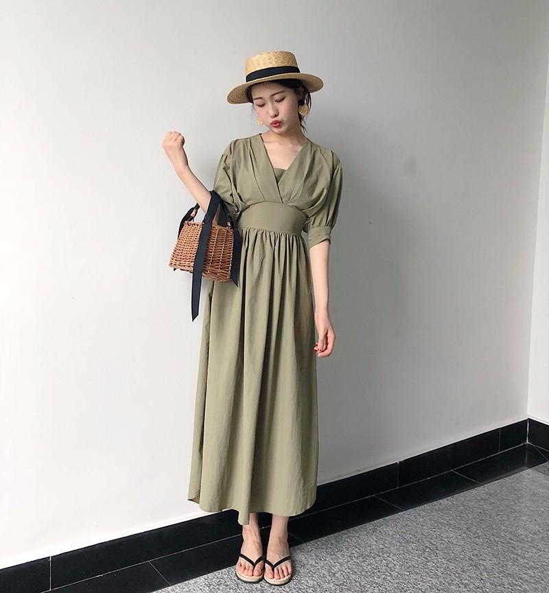 韓国ファッション Vネック ハイウエストロングワンピース 無地