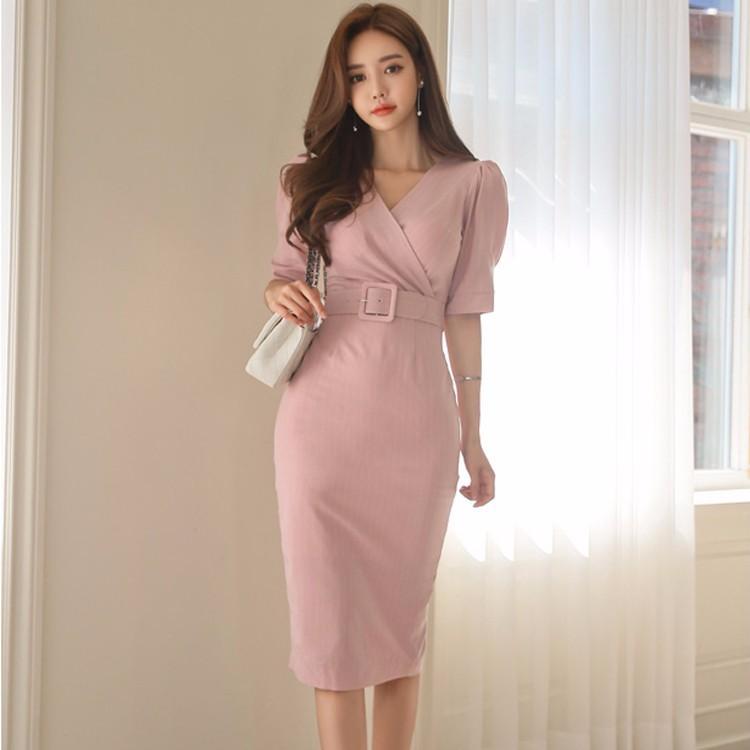 韓国ファッション Vネック ストライブワンピース 通勤 ミモレ丈ワンピース スリム