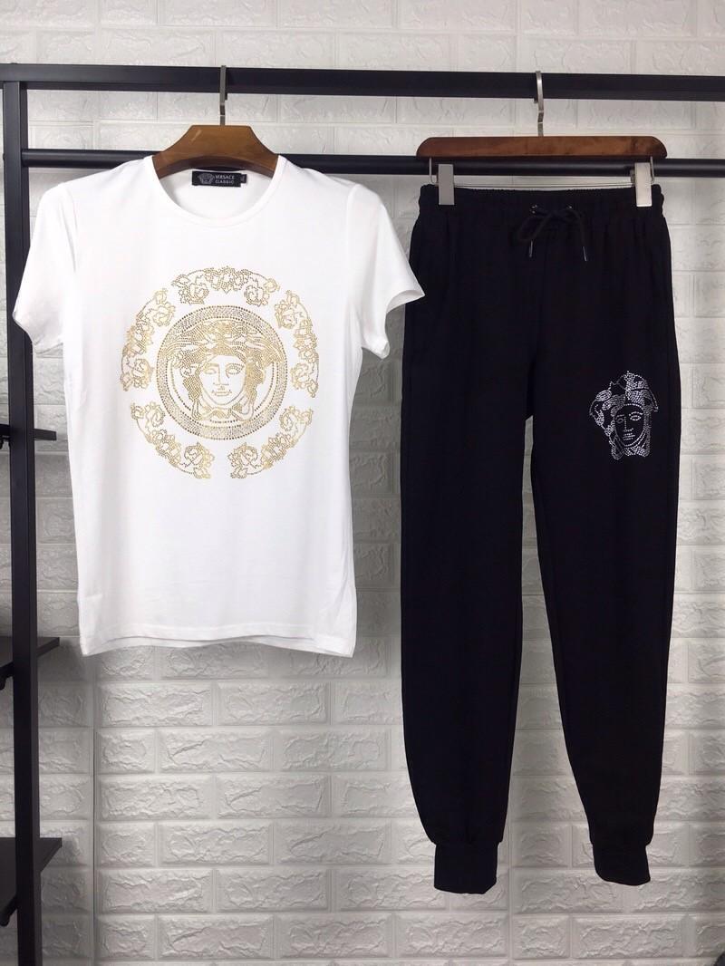 18新品Versace夏物メンズTシャツ長パンツ二点上下セット御洒落ニットファッション激安卸
