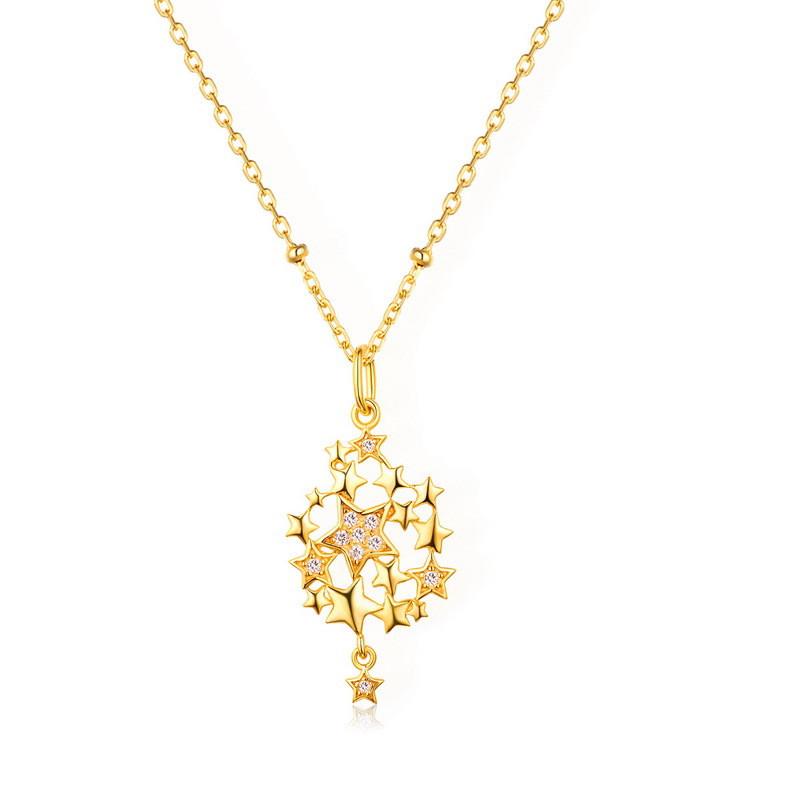 高品質 星モチーフ ネックレス チェーン イエロゴールド レディース ファッションジュエリー 結婚式 誕生日 プレゼント-1