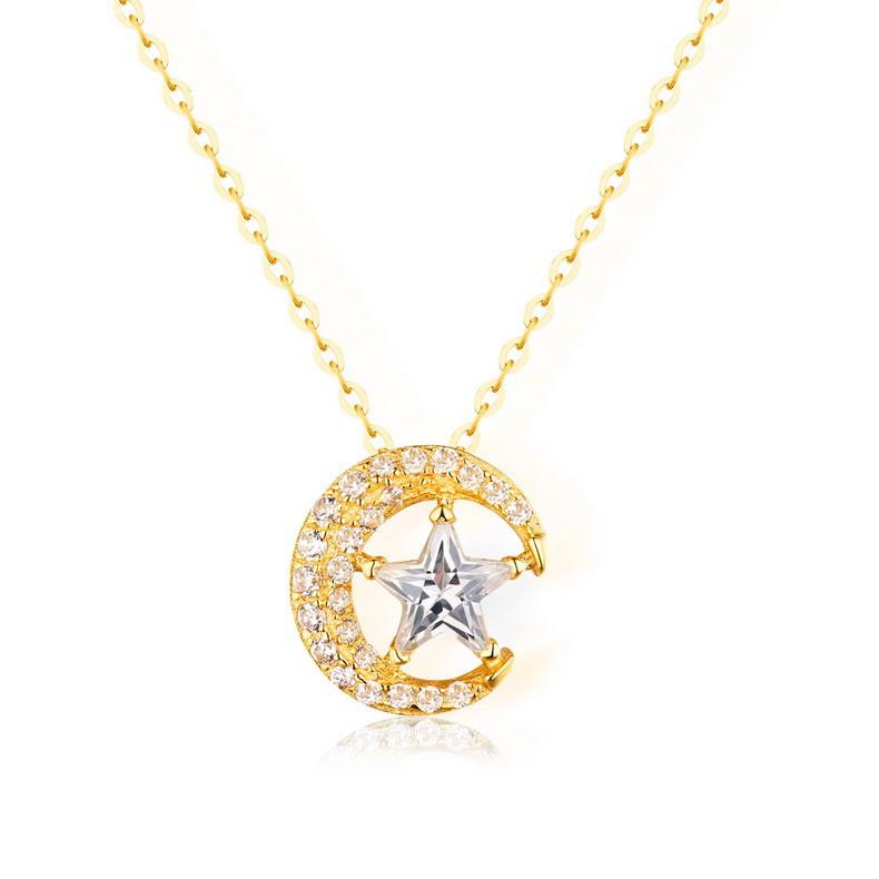 高品質 星月モチーフ ネックレス チェーン 2WAY着 イエロゴールド レディース ファッションジュエリー 結婚式 誕生日 プレゼント-1