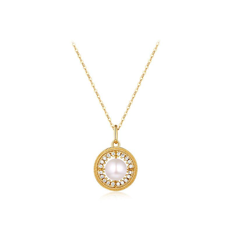 高品質 パール ネックレス K9 9金チェーン イエロゴールド レディース ファッションジュエリー 結婚式 誕生日 プレゼント-1