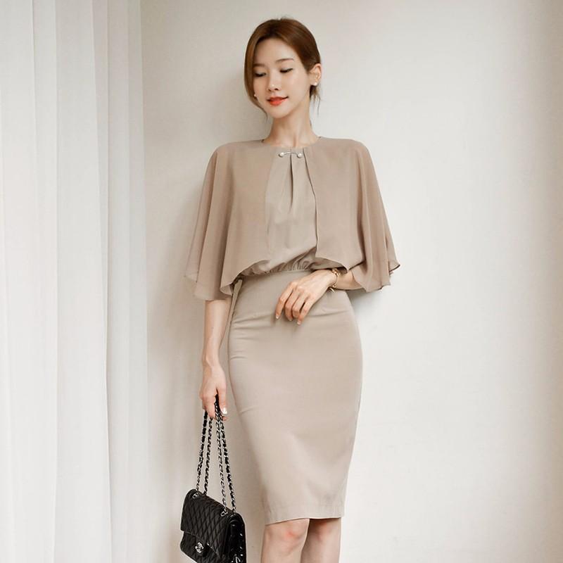 フリル スリムワンピース 通勤 エレガント 韓国ファッション-1