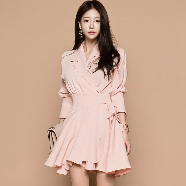 韓国ファッション リボン付き エレガントワンピース 長袖ワンピース