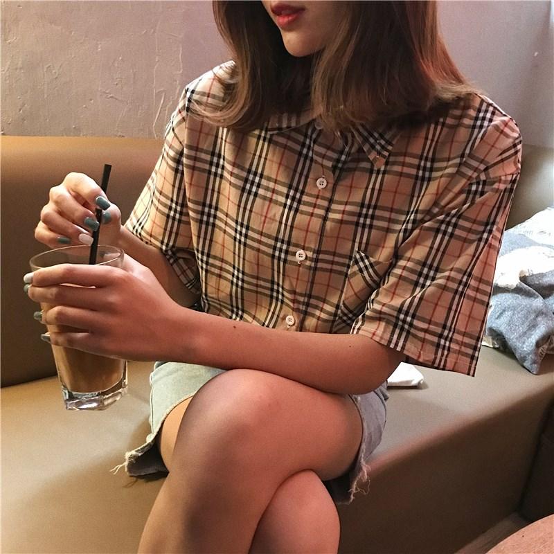 男女兼用チェックシャツ ゆったり感/体型カバー バーバリー風シャツ