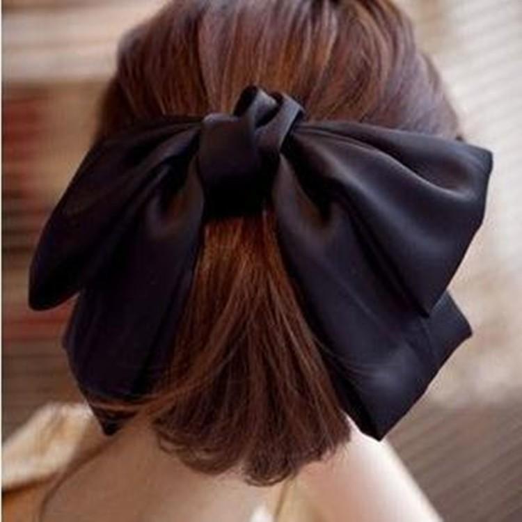 髪留め 蝶結び 大きサイズ サテン
