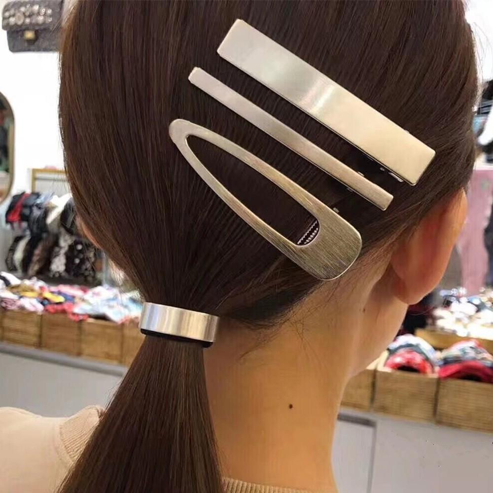 髪留め 簡約 幾何 透かし彫り 合金