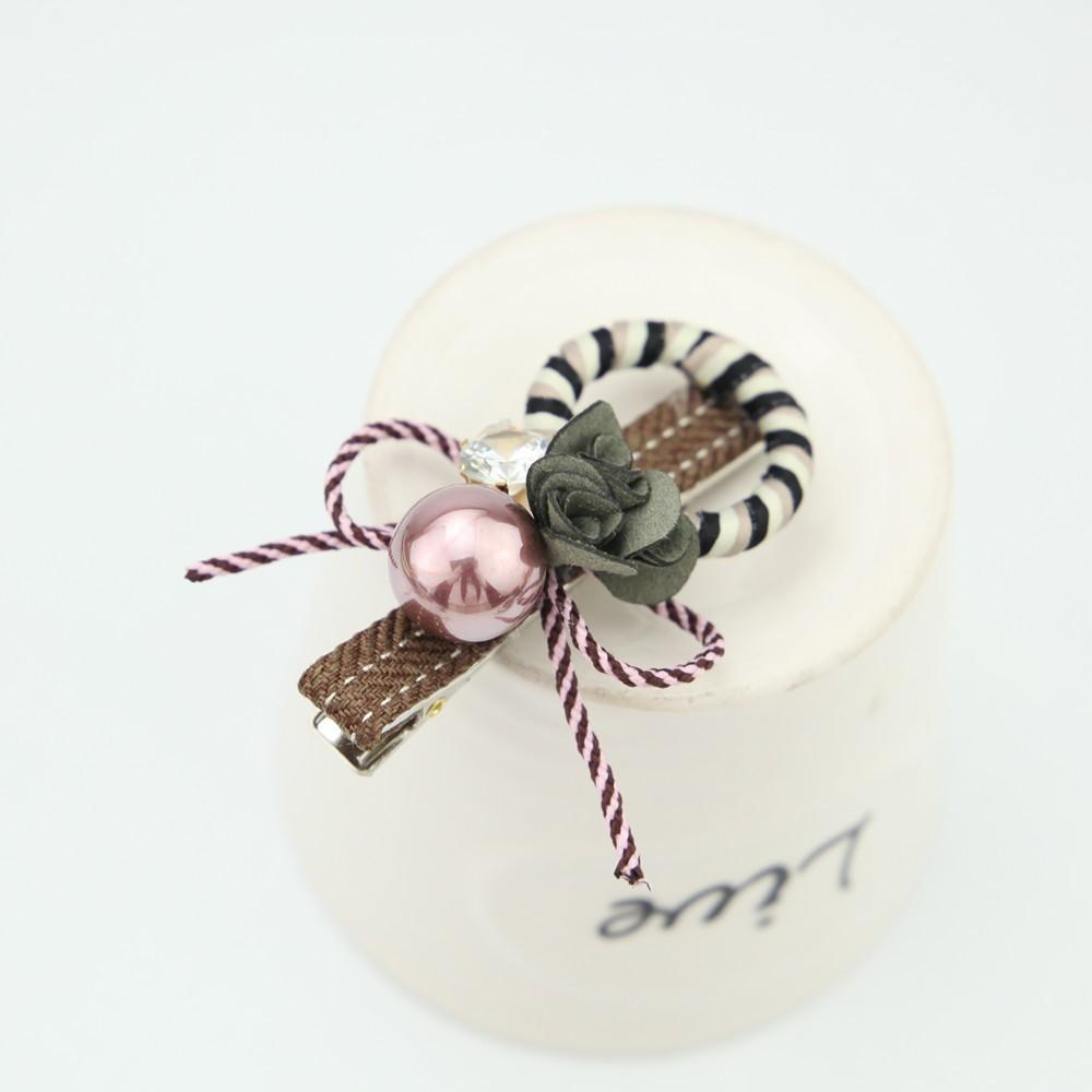 髪留め かわいい 珠 花 蝶結び-1