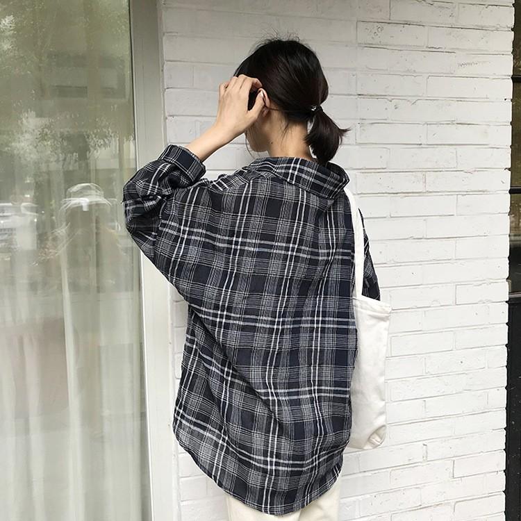 2018秋 チェックシャツ パフ·スリーブ ゆったり-1