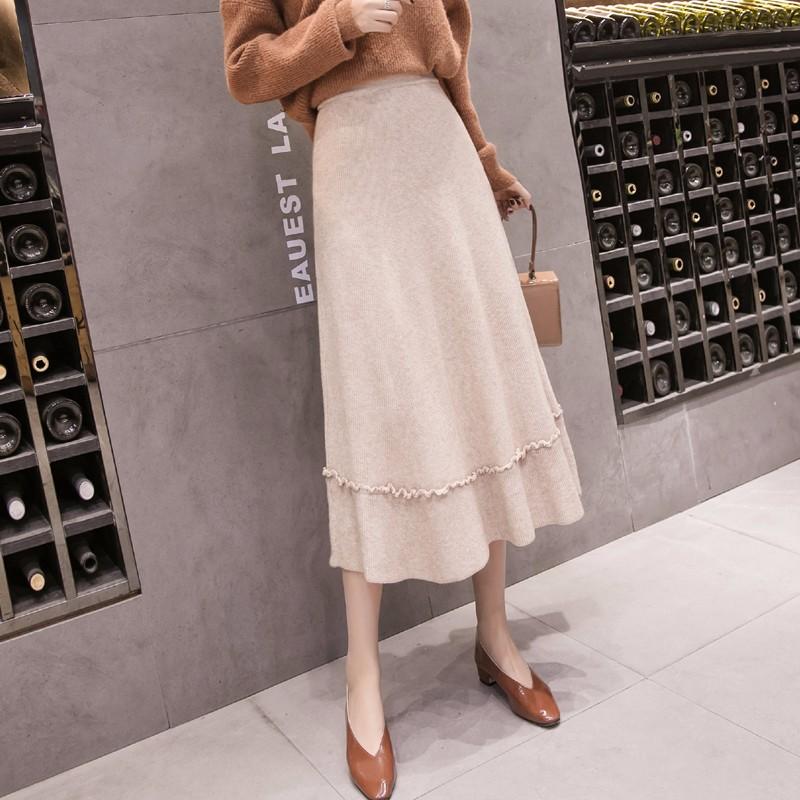レディース 女 ニットロングスカート ハイウエストロングスカート Aラインスカート