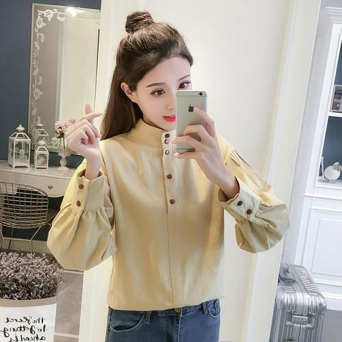 秋季復古するパフスリーブの小さいスタンドカラーのワイシャツ