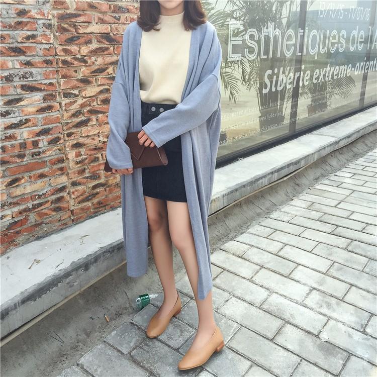 マキシ丈ニットカーディガン ニットアウターコート ロングコート 韓国ファッション