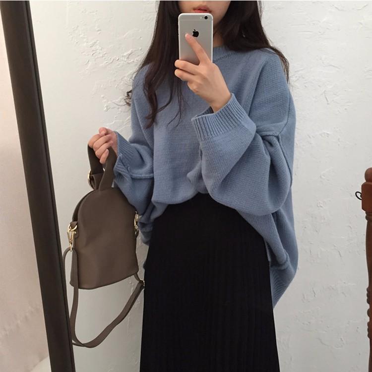 厚めゆったりとしたセーター ニットプルーオーバートップス 韓国ファッション