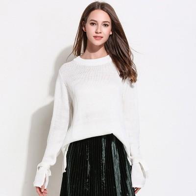 秋冬新作 リボン付きラウンドネックセーター