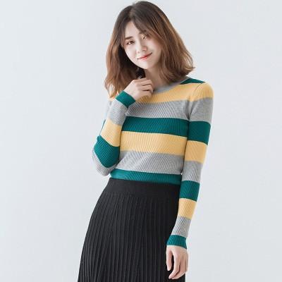 秋冬新作 横縞ラウンドネックセーター-1
