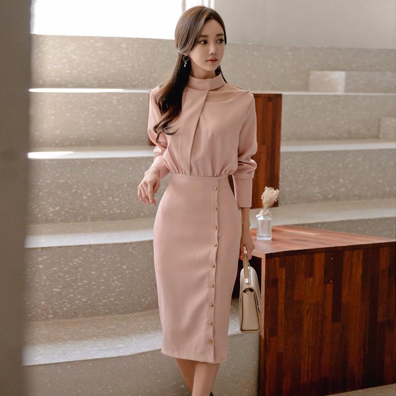 韓国ファッション 長袖ワンピース スリム エレガント 通勤  ロングワンピース