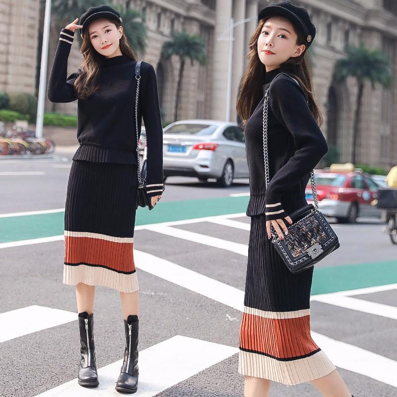 ニットセーター+ニットブリーツスカート 2枚セットアップ 上下セットアップ