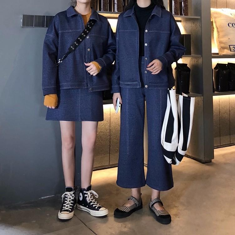 ラシャアウターコート ゆったりアウターコート+ガウチョパンツ トップス+ミニスカート 2枚セットアップ 上下セットアップ