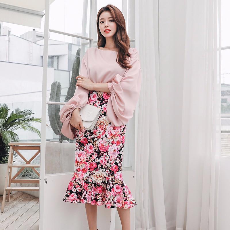 ラッパースリープ プルーオーバートップス+ロングスカート フリル 花柄