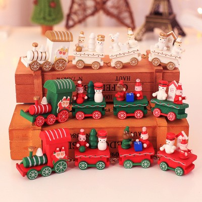 クリスマス 木質列車 デスク列車 クリスマス飾り-1