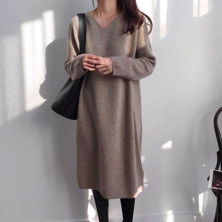 Vネックニットロングワンピース ゆったり 韓国ファッション