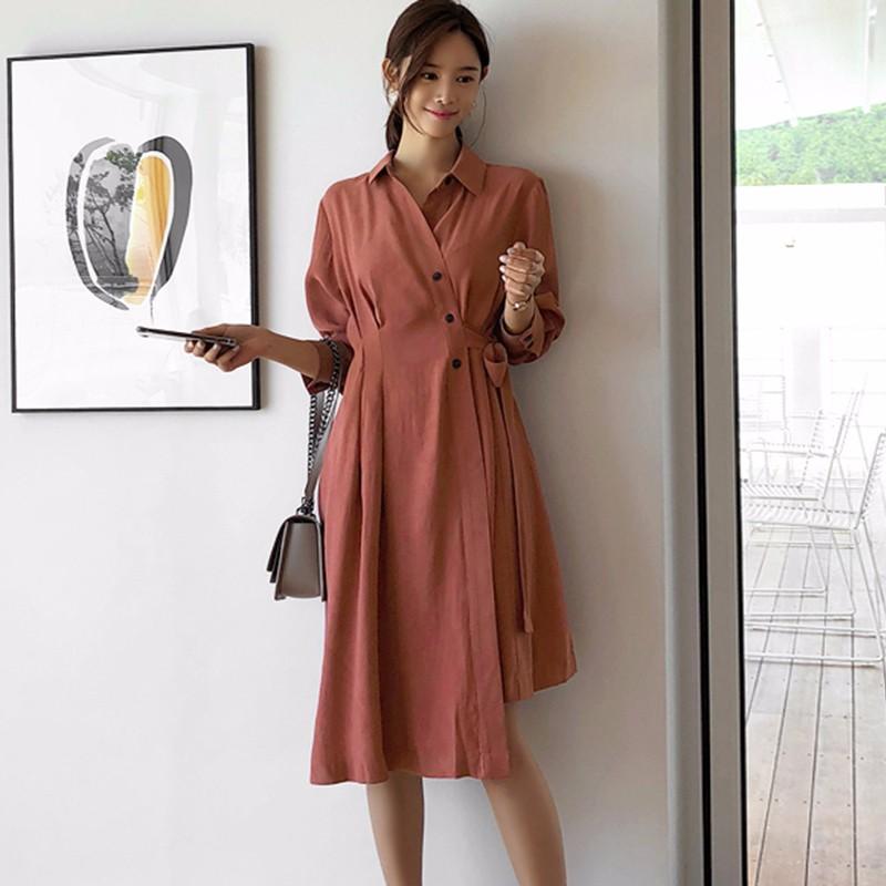 韓国ファッション レディースファッション 通勤ワンピース OL ブラウスワンピース 不規則