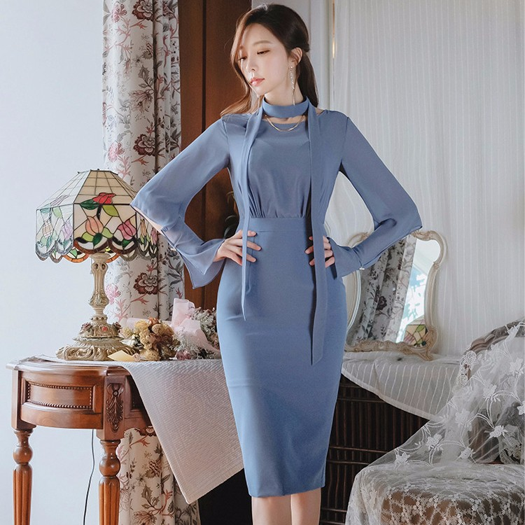 シフォン切り替え通勤ワンピース 韓国ファッション エレガント