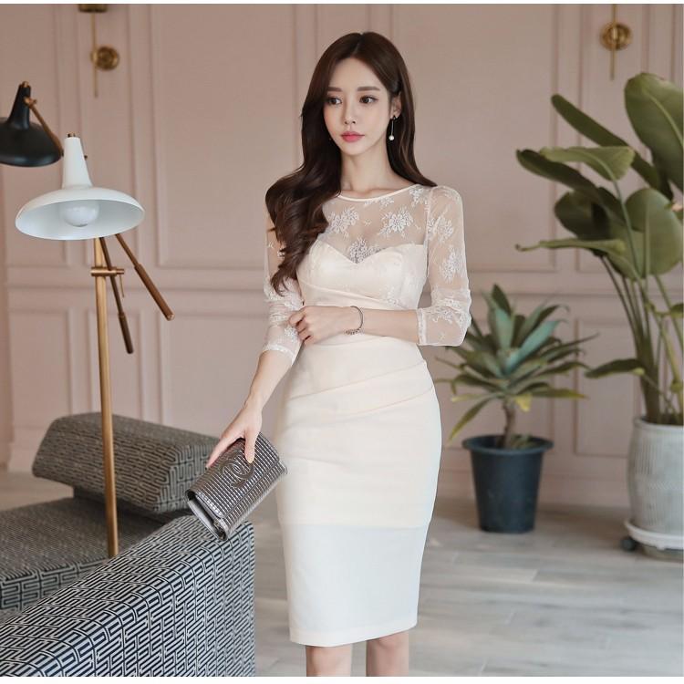 レース切り替えワンピース 通勤 エレガント ドレス 韓国ファッション