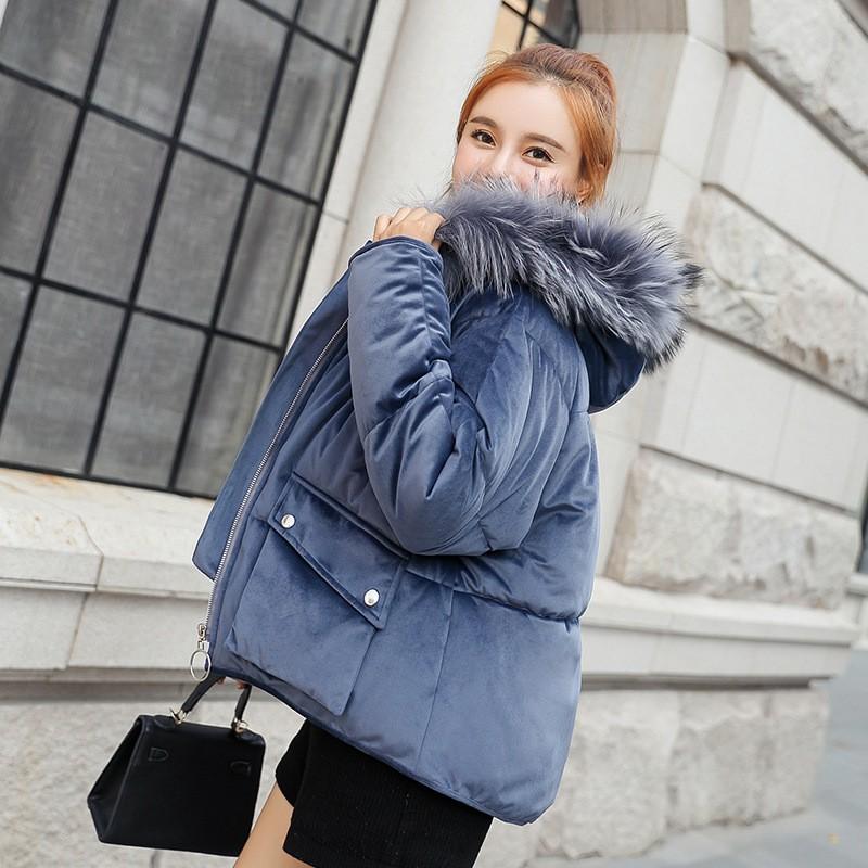 秋冬新作 ファー付きビロード綿入れコート