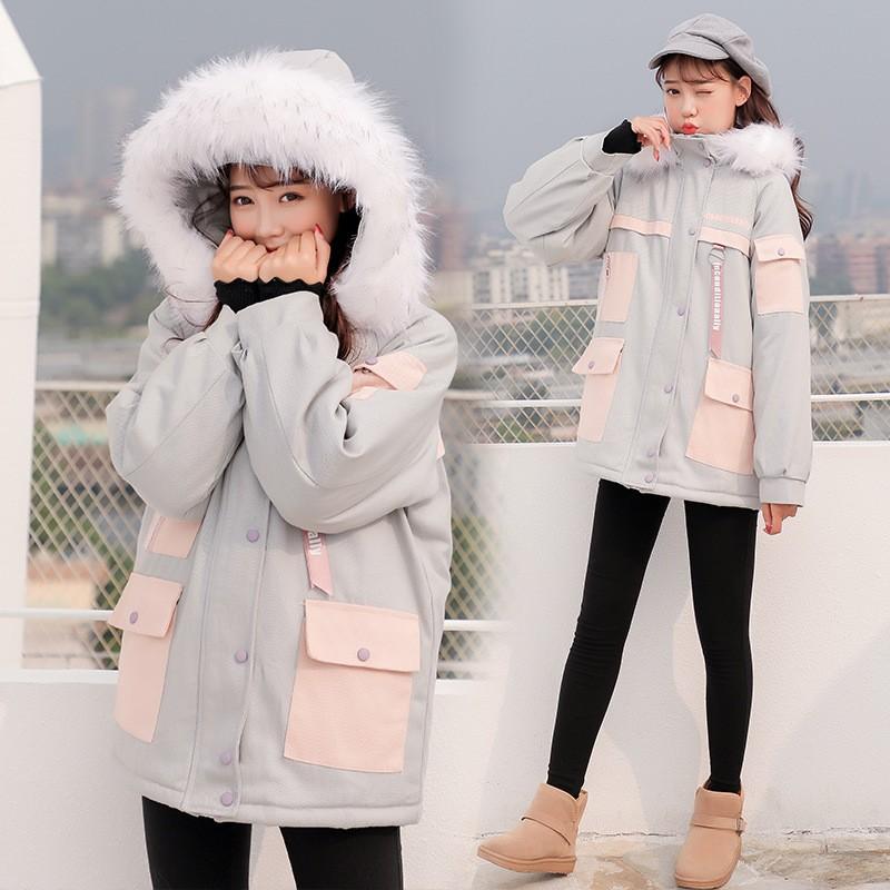 秋冬新作 ファー付きミドル丈綿入れコート