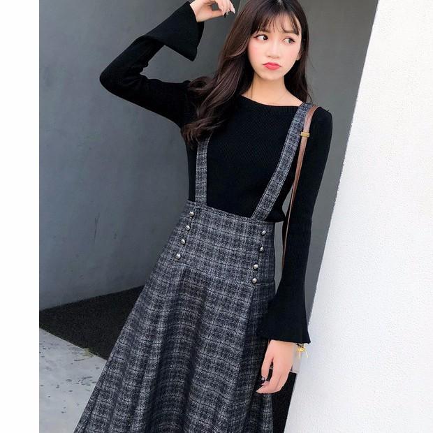 ラッパー袖セーター+サスペンダースカート チェック柄ラシャスカート 2枚セットアップ