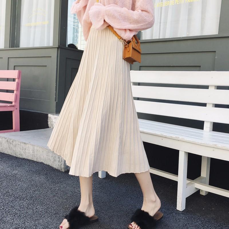 ブリーツスカート ニット 柔らかなスカート ハイウエストスカート ロングスカート 4Colors入り