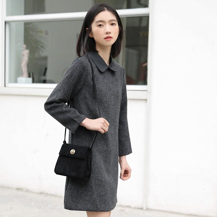 秋冬新作 シャツ襟ミドル丈ラシャワンピース