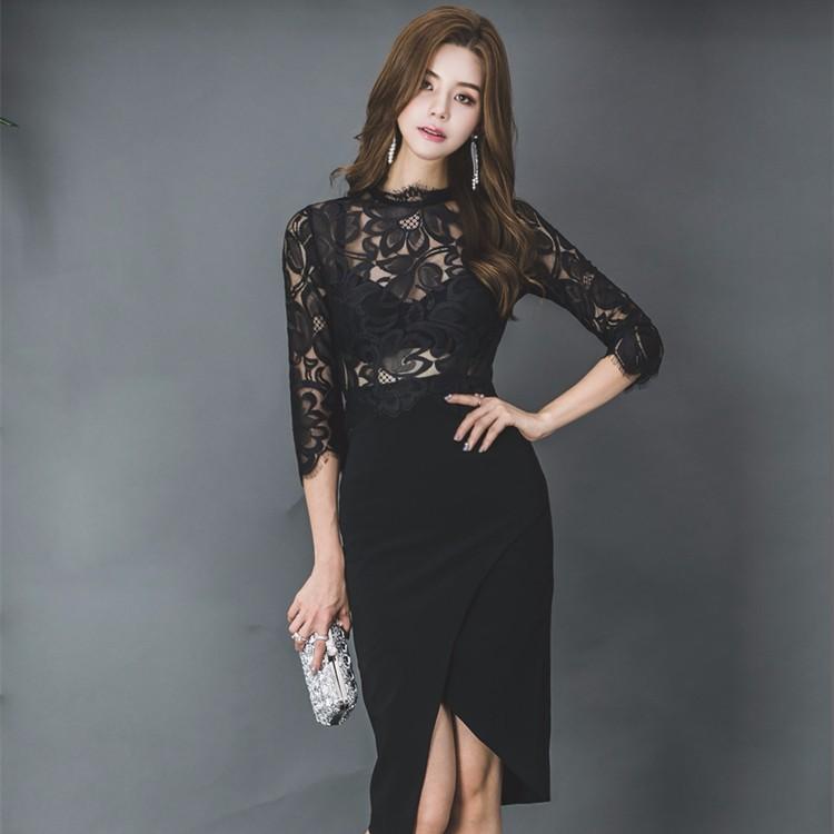 レース切り替えワンピース 韓国ファッション レディースファッション スリムワンピース