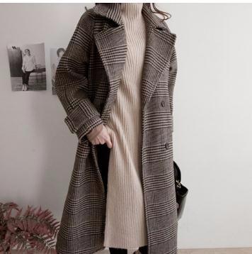 ラシャのアウターのコートの女性のロング丈のチェック