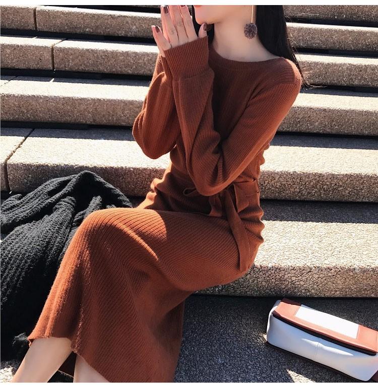 2018   ロング丈   けい帯  スッキリウェストライン  編み織のおじけづくワンピース