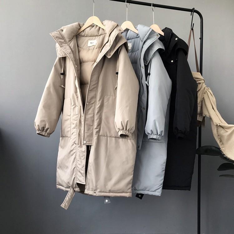 秋冬新作 ミドル丈フード付き綿入れコート