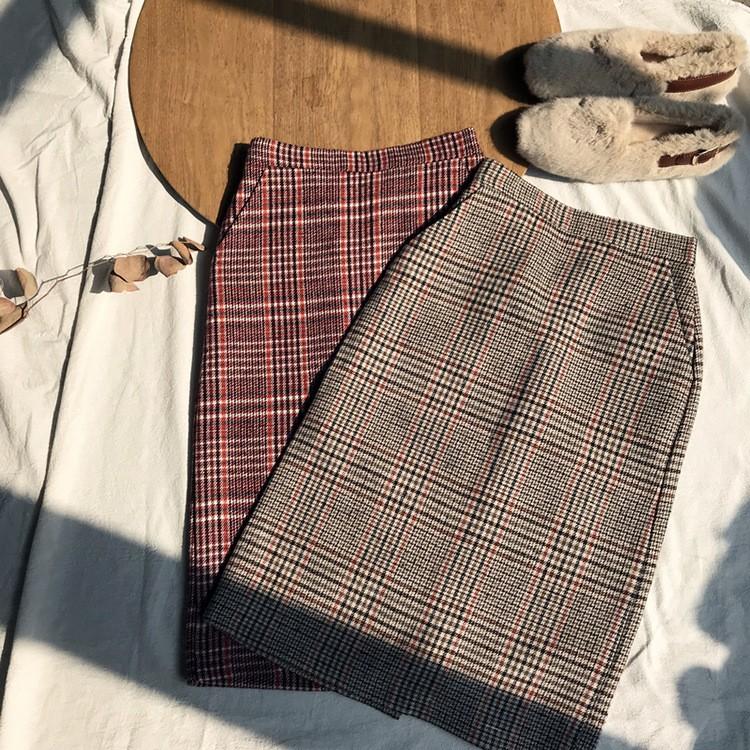 秋冬新作 厚め後スリットチェックラシャスカート