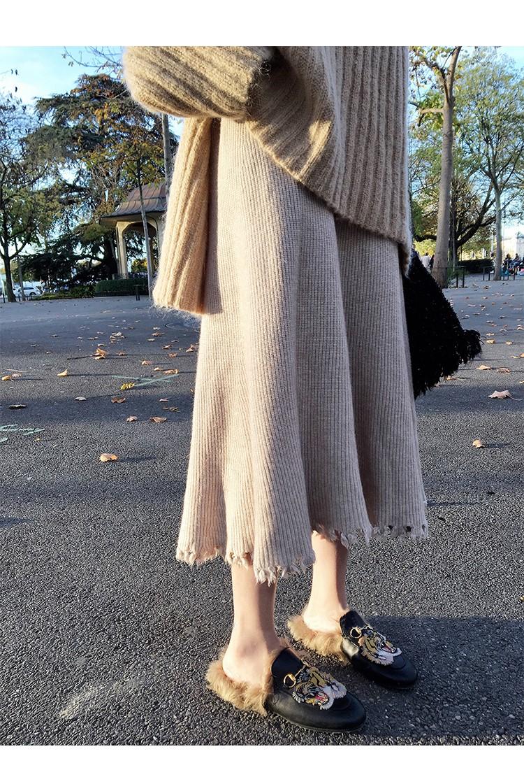 2018秋冬の新作  編み織の毛糸   A字のスカート