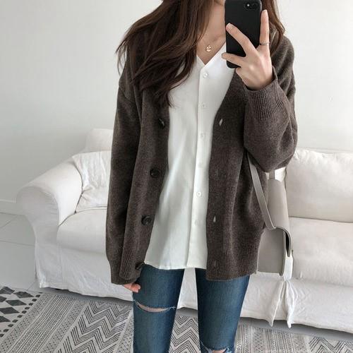 秋冬  ゆったりします  ものぐさの風  毛糸のセーターのシャツ  アウタ
