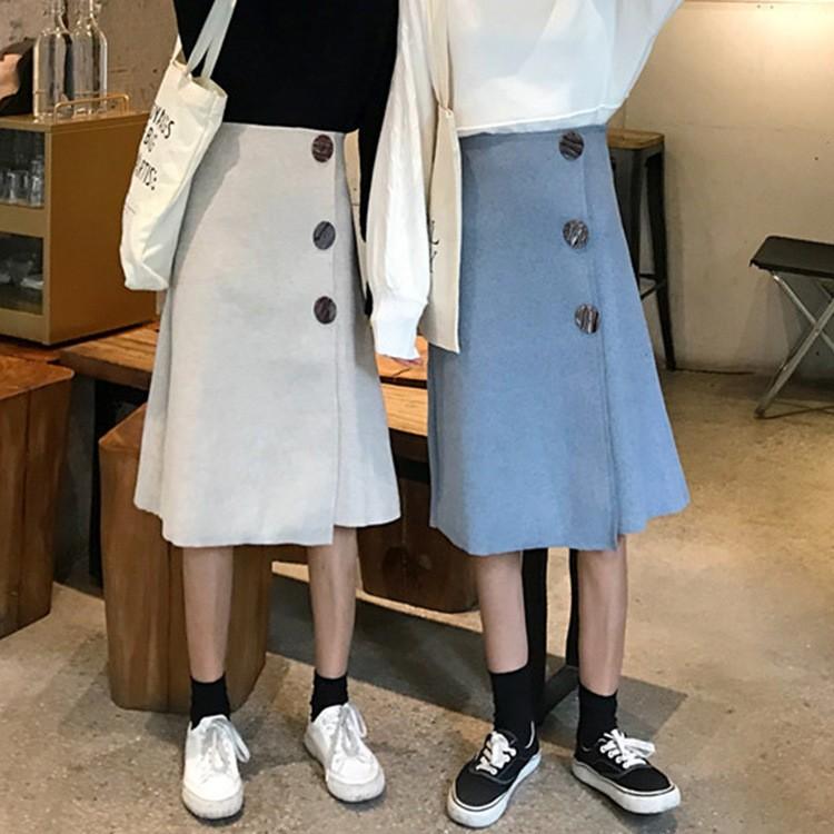 秋冬新作 膝丈ボタン飾りラシャスカート