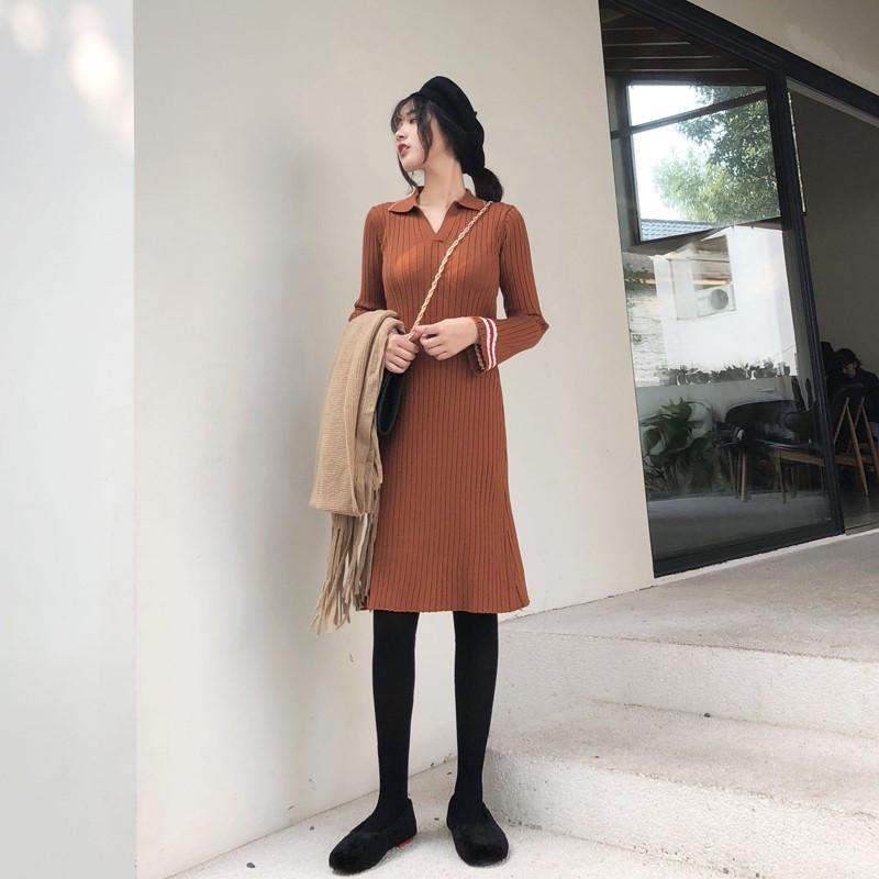 2018  秋冬  新作  スリム   基礎を作る編み織のスカート