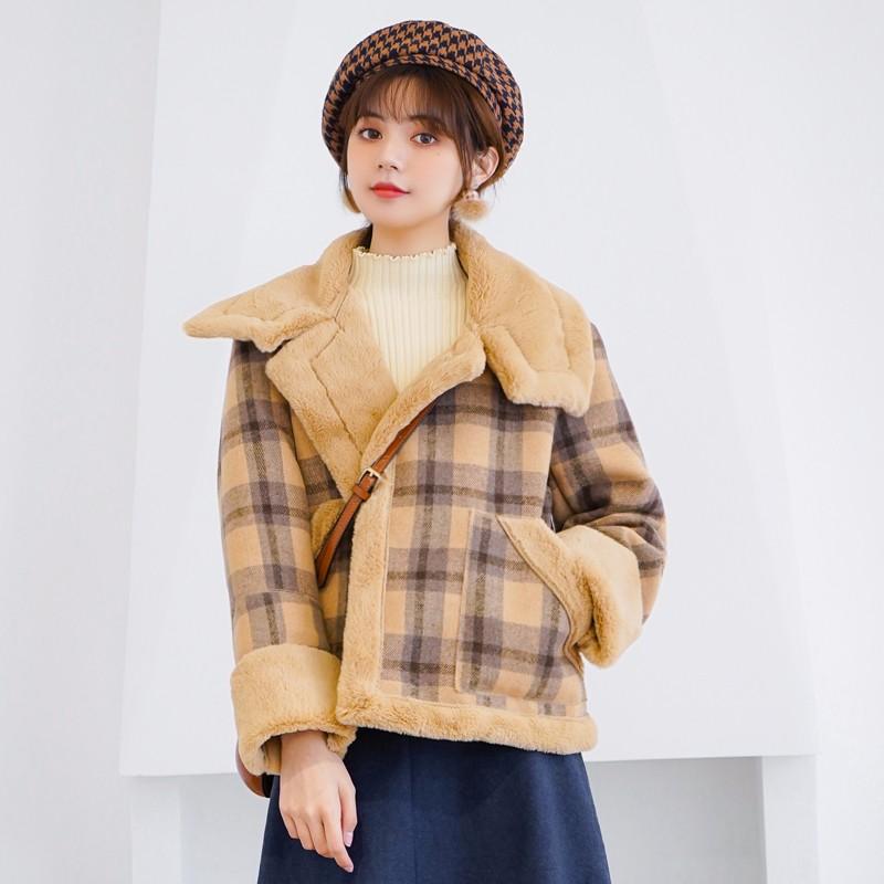 チェック柄 ボアジャケット レディースファッション アウターコート