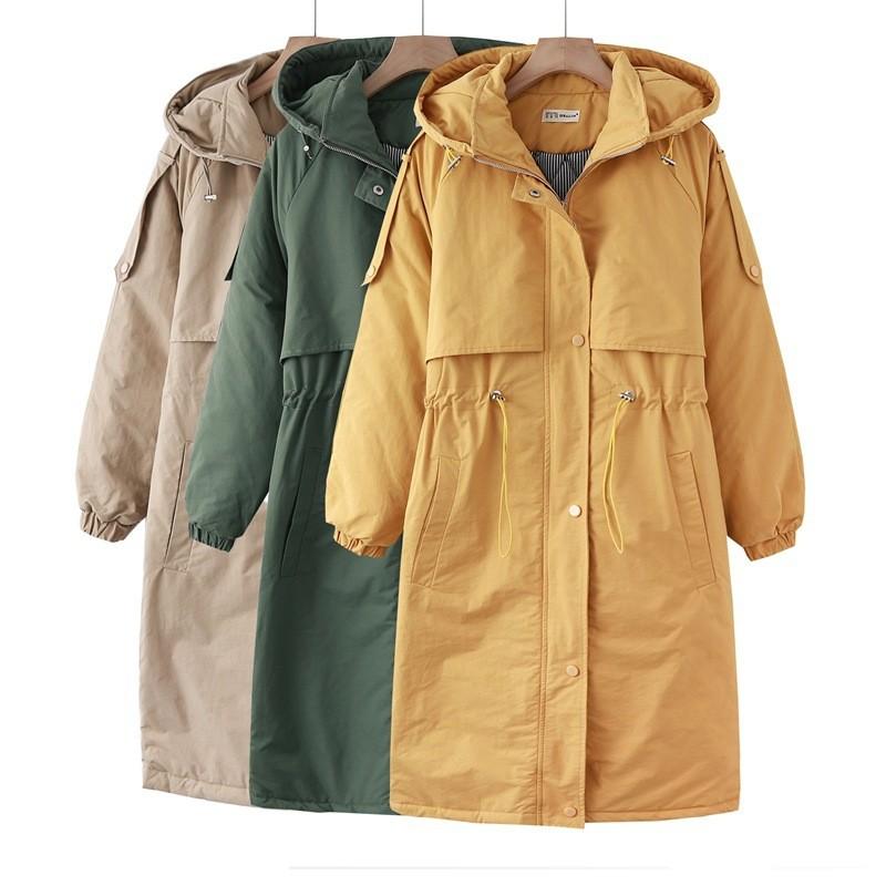 フード付きロング綿入れコート レディース防寒コート