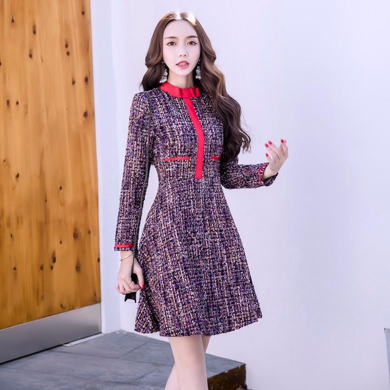 長袖 Aラインワンピース 韓国ファッション