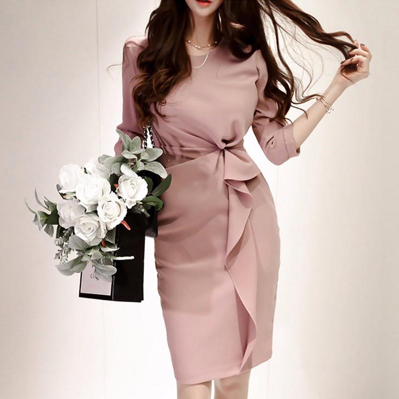 通勤 エレガント ワンピース 韓国ファッション